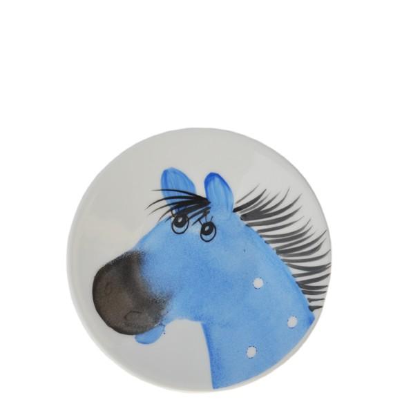 Porzellan Helina Tilk Deutschland: Oswald Pferde blau Teller 11 cm