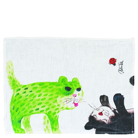 Helina Tilk: Heimtextilien - Platzdeckchen 34x44 Katze mit Tasse weiß