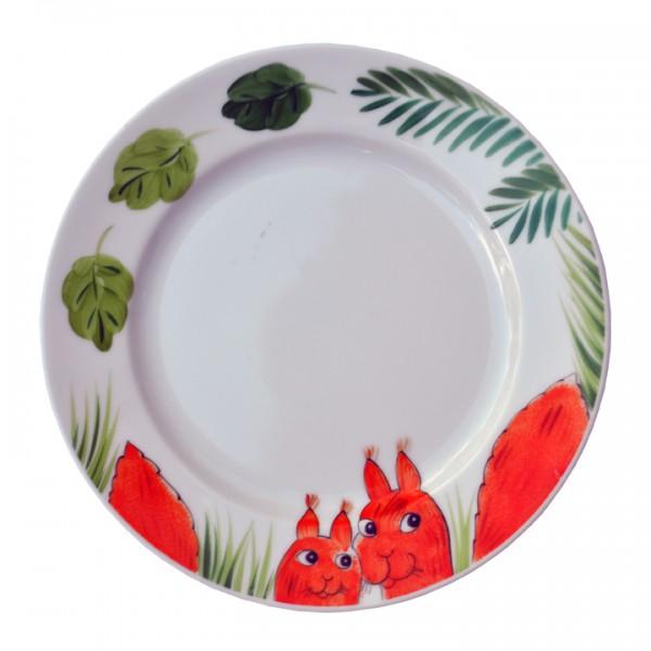 Helina Tilk: Handbemaltes Porzellan, Porzellanmarken, Keramik. Alla-S - handbemalter Teller 19 cm, Motiv: Waldtiere Eichhörnchen