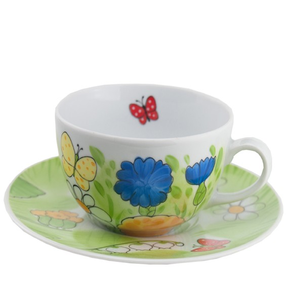 Handbemaltes Porzellan Geschirr und Keramik - handbemalte Tasse aus Porzellan mit Unterteller 0,45l - Porzellangeschirr hier kaufen