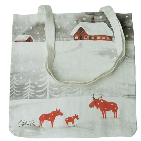 Helina Tilk: Tasche aus Leinen 38x38 Schneeelche weiß