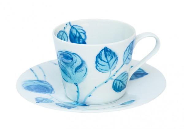 Blaue Rosen Espressotasse mit Unterteller 0,10 l