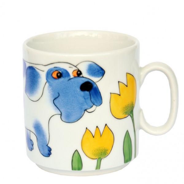 Hund mit Tulpe Henkelbecher 280 ml