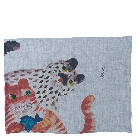 Helina Tilk: Heimtextilien - Platzdeckchen aus Leinen 43x31 Katze mit Fisch natur