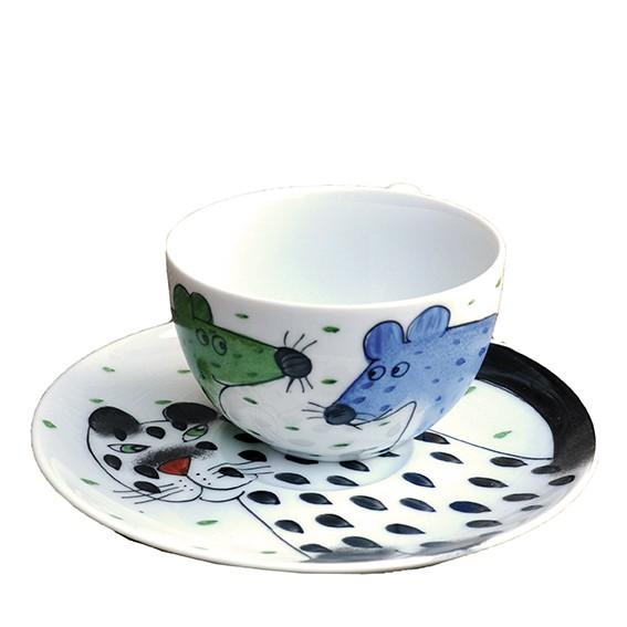 Katze mit Maus Tasse 0,45 l mit Unterteller