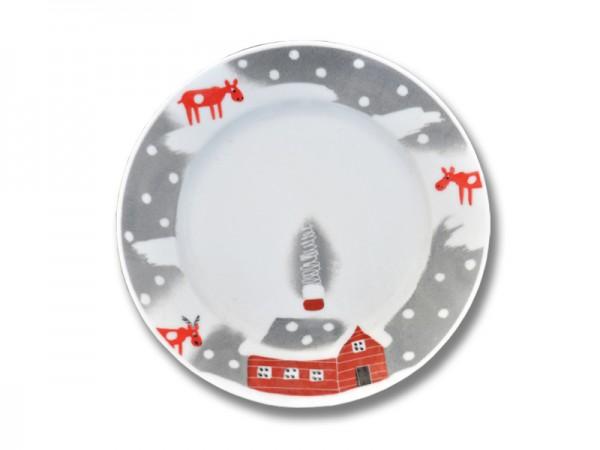 Helina Tilk: Handbemaltes Porzellan: handbemalter Teller 19 cm mit Schneeelchmotiv