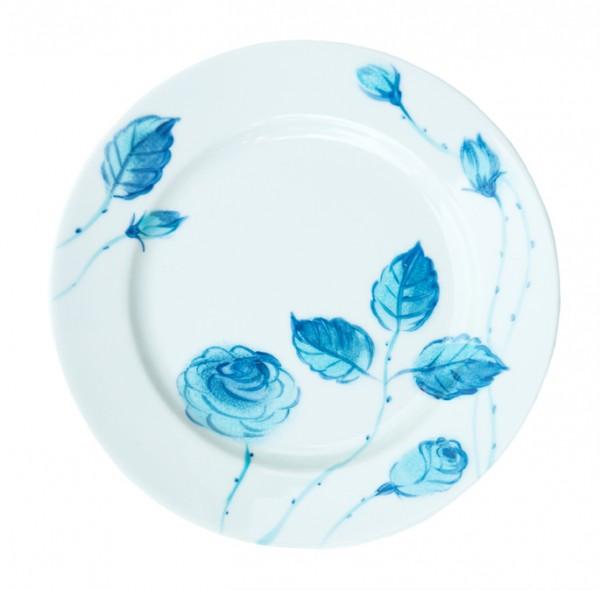 Porzellan Helina Tilk Deutschland: Handbemaltes Porzellan - handbemalter Teller 19 cm, Motiv: blaue Rosen
