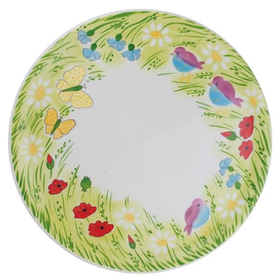 Helina Tilk: Handbemaltes Porzellan: handbemalte Tortenplatte 31cm, Motiv: Sommervogel