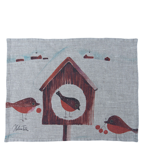 Helina Tilk: Platzdeckchen aus Leinen 43 x 31 Pfefferkuchenvogel natur