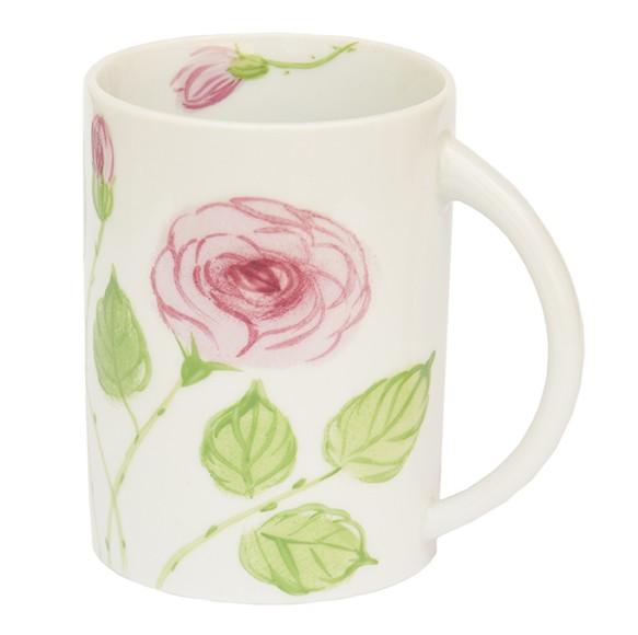 Helina Tilk: Handbemaltes Porzellan, Keramik, Heimtextilien, Porzellanmarken aus Ostholstein - handbemalter Henkelbecher, Motiv: rosa Rosen