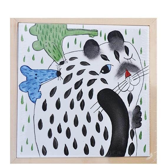 Katze mit Maus Bild Untersetzer 17 x 17 cm