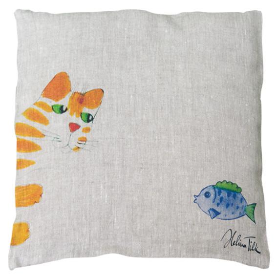 HelinaTilk: Heimtextilien -  Kissenbezug aus Leinen 40x40 Katze mit Fisch natur