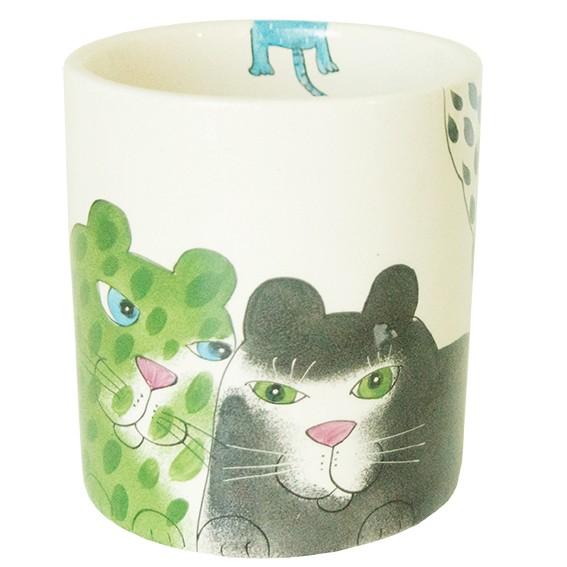 Tilk: Handbemaltes Porzellan, Keramik, Heimtextilien aus Ostholstein - Katze mit Tasse und Maus Blumentopf