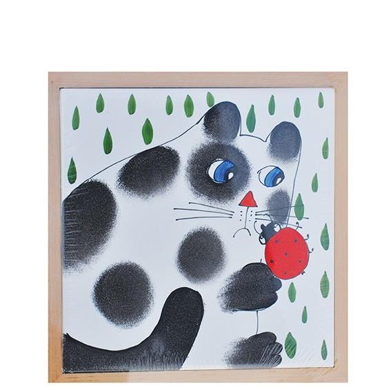 Katze mit Käfer Bild Untersetzer 17 x 17 cm