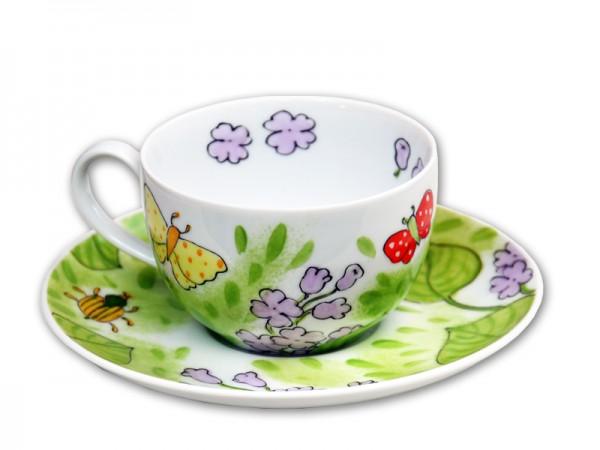 Flieder Tasse mit Unterteller 0,25 l