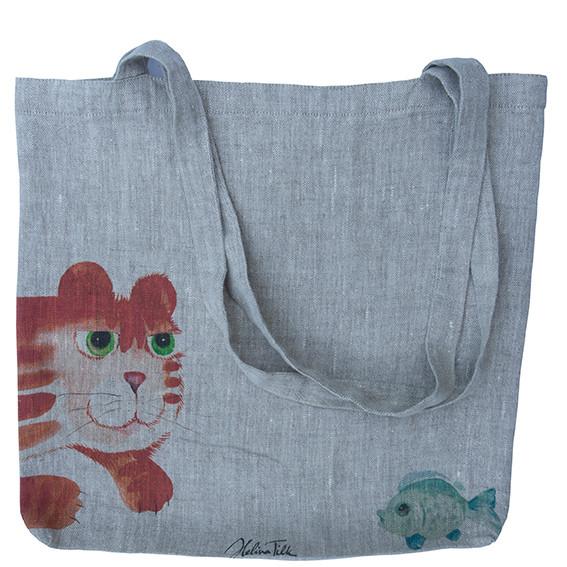 Helina Tilk: Heimtextilien - Tasche aus Leinen 38x38 Katze mit Fisch natur