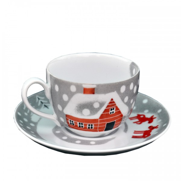 Porzellan Helina Tilk Deutschland: Handbemaltes Porzellan - Tasse, mit Unterteller, Schneeelche