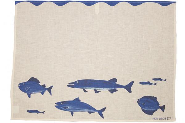 Helina Tilk: Heimtextilien - Hand- Geschirrtuch, Tischläufer Blaue Fische welliger Untergrund