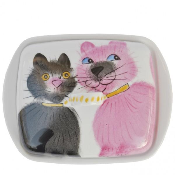 Emma cats rosa/schwarz Butterdose