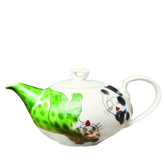Bunte Katzen Teekanne 1,2 l grün