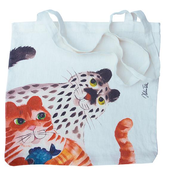 Helina Tilk: Heimtextilien - Tasche aus Leinen 38x38 Katze mit Fisch und Maus weiß