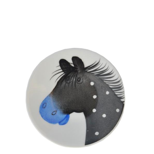Porzellan Helina Tilk Deutschland: Oswald Pferde schwarz Teller 11 cm
