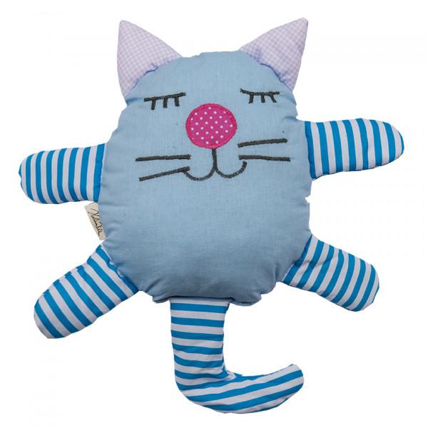 Helina Tilk: Heimtextilien - Countrykissen Katze blau