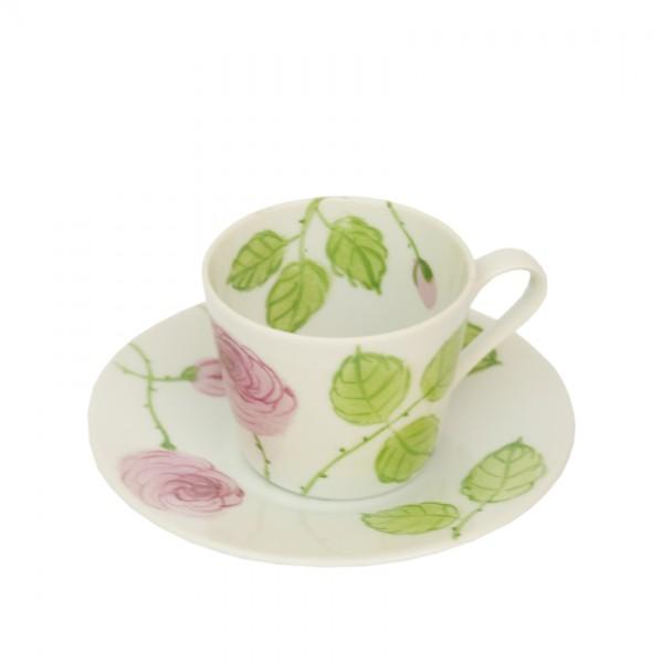 Porzellan Helina Tilk Deutschland: Handbemaltes Porzellan aus Ostholstein - handbemalte Espressotasse mit Unterteller 0,10 l, Motiv: rosa Rosen