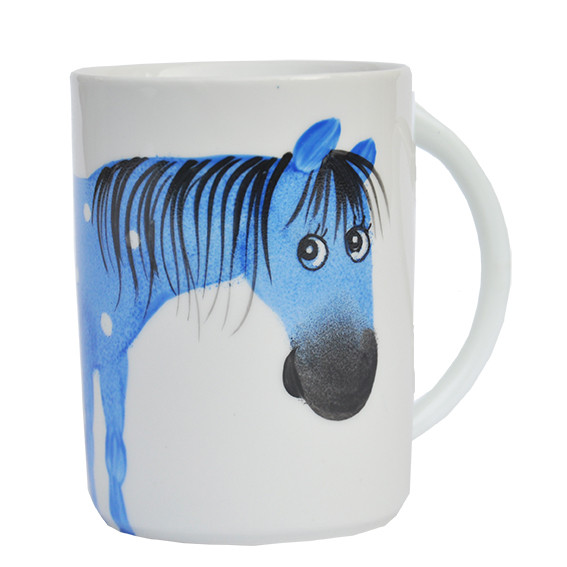 Oswald Pferd blau Henkelbecher hohe Form
