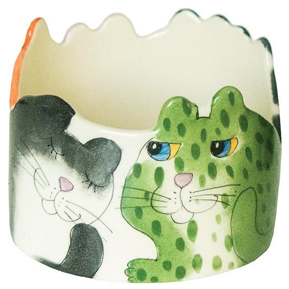Tilk: Keramik aus Ostholstein - Bunte Katze Blumentopf mit Zacken
