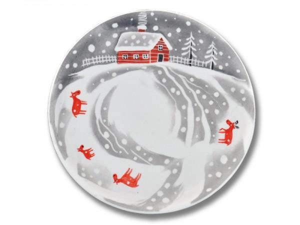 Helina Tilk: Handbemaltes Porzellan, Porzellan, Porzellanmarken: handbemalte Tortenplatte 31 cm mit Schneeelchmotiv