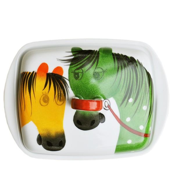 Porzellan Helina Tilk Deutschland: Oswald Pferd gelb grün Butterdose