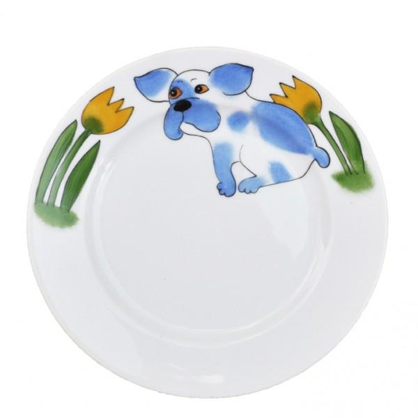 Hund mit Tulpe Teller 19 cm