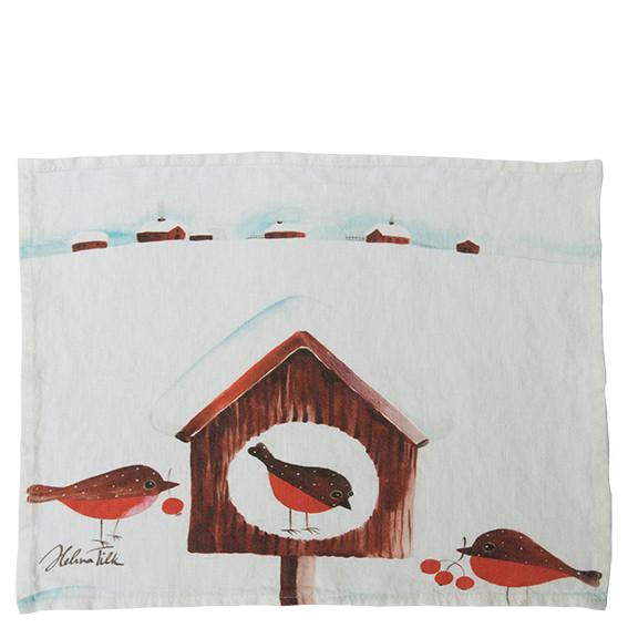 Helina Tilk: Platzdeckchen aus Leinen 43 x 31 Pfefferkuchenvogel weiß