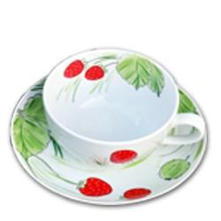 Erdbeeren Tasse mit Unterteller 0,25 l