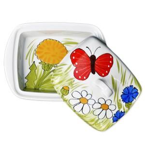 Helina Tilk: Handbemaltes Porzellan & Heimtextilien - handbemalte Butterdose aus Porzellan mit rotem Schmetterling (weisse Streifen) mit allen Blumen - Porzellan Geschirr hier kaufen