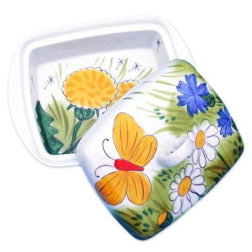 Alle Blumen mit gelben Schmetterling Butterdose