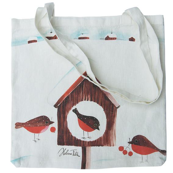 Helina Tilk: Tasche aus Leinen 38x38 Pfefferkuchenvogel weiß