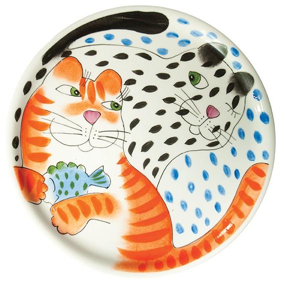 Katze mit Fisch Tortenplatte 31 cm