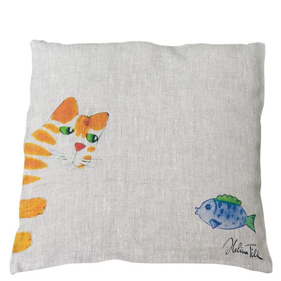 Helina Tilk: Heimtextilien - Kissenbezug 40 x 40 orange Katze mit Fisch 100 % Leinen natur