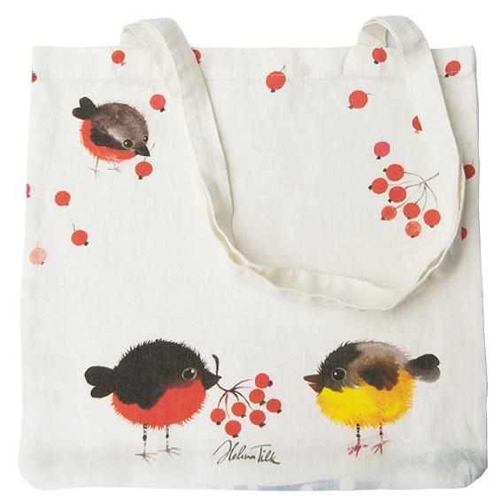 Helina Tilk: Tasche aus Leinen 38x38 Nordvogel weiß