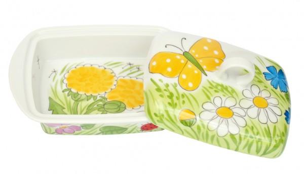 Alle Blumen mit gelbem Schmetterling Butterdose