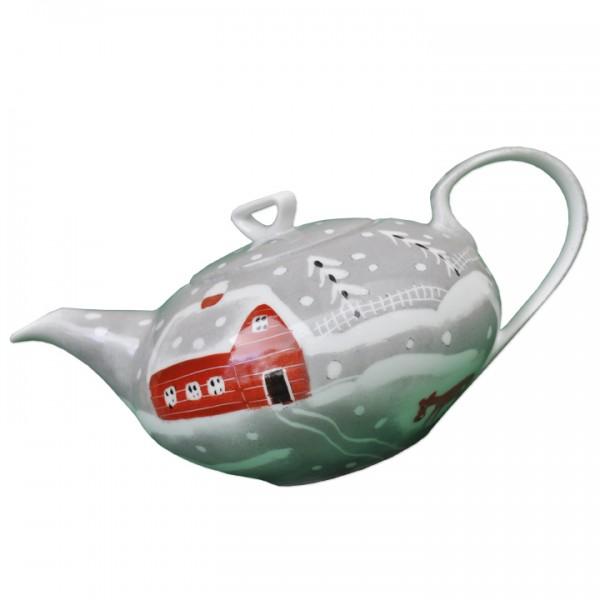 Porzellan Helina Tilk Deutschland: Handbemaltes Porzellan - Teekanne, Schneeelche