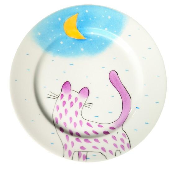 Katze mit Mond Teller 19 cm