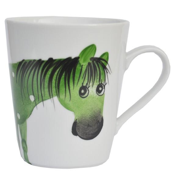 Porzellan Helina Tilk Deutschland: Oswald Pferd grün Henkelbecher Opty 300 ml