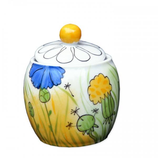 Helina Tilk: Handbemaltes Porzellan Geschirr und Keramik - handbemalte Zuckerdose aus Porzellan 0,3l runde Form mit allen Blumen - Porzellan Geschirr hier kaufen