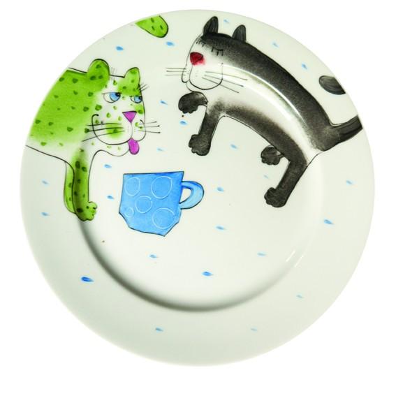Katze mit Tasse Teller 19 cm