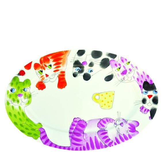 Bunte Katzen Ovale Platte