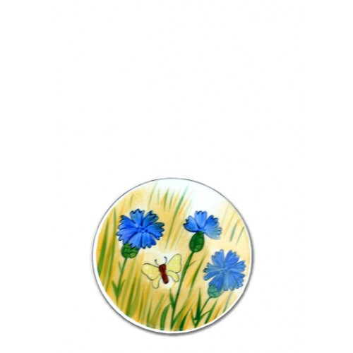 Helina Tilk: Handbemaltes Porzellan Geschirr und Keramik - handbemalter Teller aus Porzellan 11cm mit Kornblumenmotiv - Porzellan Geschirr hier kaufen