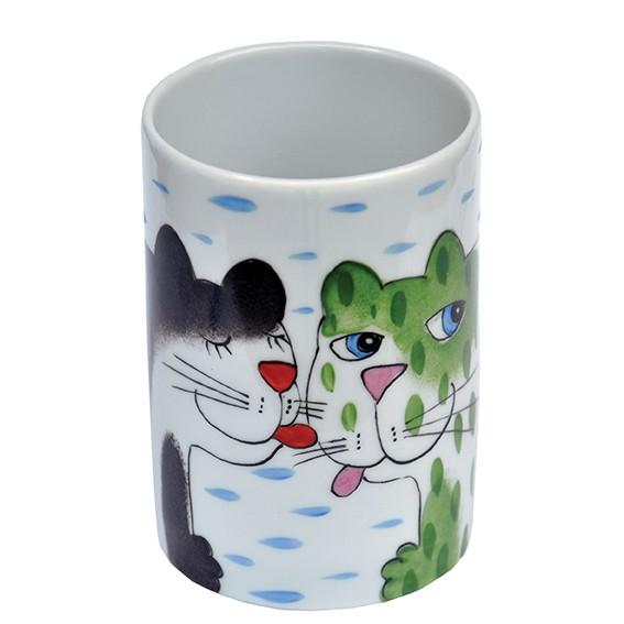 Katze mit Tasse Henkelbecher hohe Form 300 ml